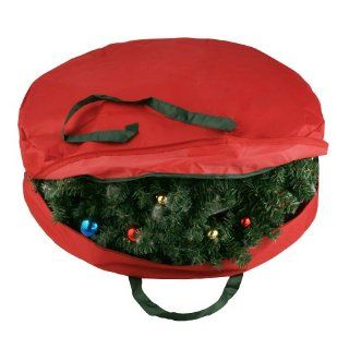 "Durable Canvas Holiday Christmas Wreath Protection Storage Bag for 30"" Wreaths"