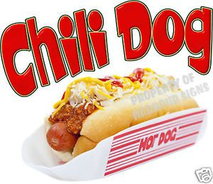 "Chili Dog Hot Dog Decal 14"" Concession Food Truck Van Stand Cart Vinyl Sticker"