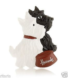 2012 Harrods Black White Scottish Terrier Dog Scottie Dog Fridge Magnet BNWT