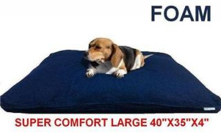 Heavy Duty Memory Foam Pet Dog Bed Pillow with Water Resist Case Denim Cover