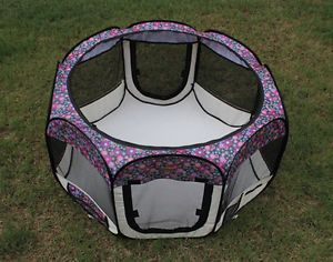 New Small Fashion Flower Pet Dog Cat Tent Playpen Exercise Play Pen Soft Crate