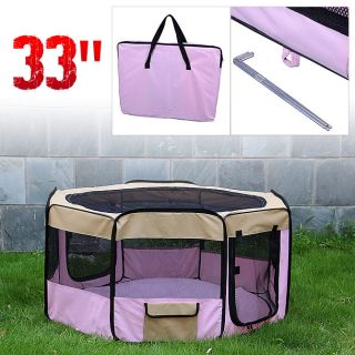 "6Color 33"" Soft Pet Playpen Exercise Puppy Dog Cat Play Pen Kennel Folding Crate"