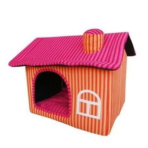 New Sweet Pet Dog Cat House Bed Chimney House Large