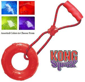 Kong Large Squeezz Ring with Handle Squeaker Ring Tug Rope Rubber Type Dog Toy