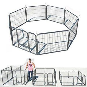 8 Panel Heavy Duty Cage Pet Puppy Dog Run Cat Barrier Fence Metal Playpen Kennel