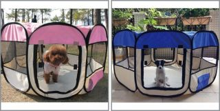2 Door Soft Pet Playpen Exercise Cage Dog Puppy Kennel Pig Run Tent