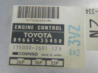 90 Toyota 4Runner Truck V6 at ECU ECM Engine Computer Control Unit 89661 35450