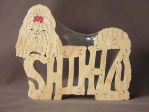 Shih Tzu Dog Amish Made Wooden Scroll Saw Puzzle Toy