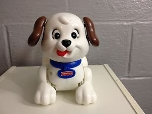 Little Snoopy Pull Along Puppy Black White Dog Pull Toy Fisher Price