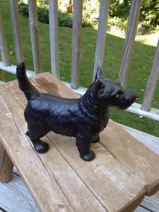 Antique Cast Iron Scottish Terrier Scotty Dog Door Stop Hubley w Orig Label