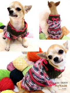 Handmade Crochet Dog Party Pink Sweater Chihuahua Clothes Yorkshire Unique D859