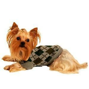 Paw Appeal Classic Gray Argyle Knit Small Dog Puppy Teacup Sweater Clothes XS
