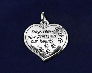 "Sterling Silver Urn Memorial Charm ""Dogs Leave Paw Prints"" Hearts Dog Love Dog"