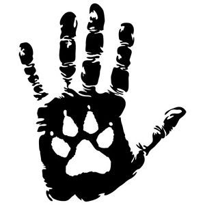 DH 2 Tribal Dog Paw Hand People Custom Car Boat Bike Vinyl Decal Sticker