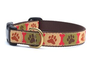 Up Country Dog Paw Prints Nylon Ribbon Dog Collar USA Made