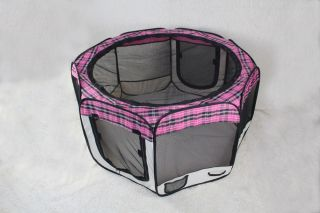 Pinkplaid Pet Dog Cat Tent Puppy Playpen Exercise Pen L