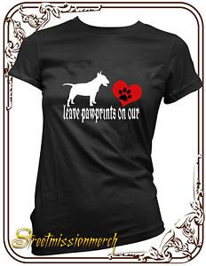 English Bull Terrier Leave Paw Prints Dog T Shirt s XXL