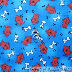 BonEful Fabric FQ Cotton Quilt Blue Red Puppy Dog Fire Hydrant Bone SM Paw Print