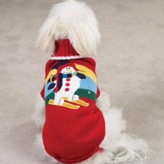 Red Snowman Winter Scene Sweater Warm Dog Clothing XSmall