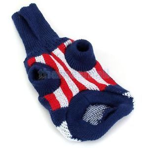 Pet Dog Turtleneck Sweater Knitwear Pullover w UK Flag Union Jack Pattern XS