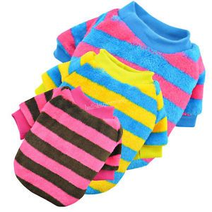 Soft Fleece Striped Pullover Dog Clothes Apparel Sweater Pet Clothing Shirt