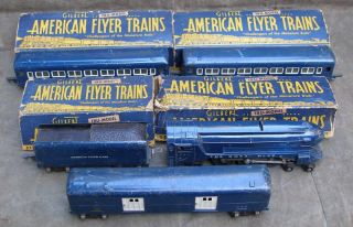 American Flyer 556 Royal Blue Set Engine Tender 3 Cars Transformer in Boxes