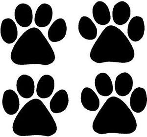 Black Vinyl Decal 4 Paw Prints Tracks Dog Cat Kitty Fun Sticker