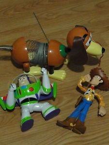 Talking Buzz Lightyear Woody Slinky Dog Toy Story Action Figures Talks Disney