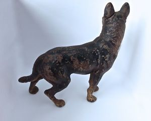 Antique Cast Iron Hubley German Shepherd Police Dog Door Stop