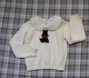 Gymboree Holiday Friends Ivory White Faux Fur Collar Scottie Dog Sweater Sz 7