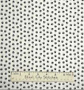 Puppy Dog Black Paw Prints Animal Tracks Timeless Treasures Cotton Fabric Yard