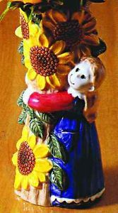 Noritake Country Fences Girl with Sunflowers Figurine Vase 5330192