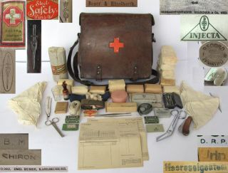 WWII Original German Medic First Aid Bag w Equipment