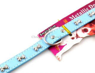 "12 5"" Bones Pattern Dog PU Leather Collar 2 0cm Blue"
