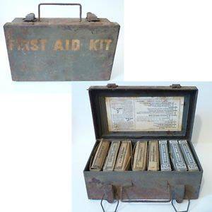 WWII First Aid Kit US Army Military Vtg Metal Medical Jeep Box Tourniquet More