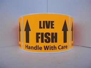 Live Fish Handle with Care Warning Sticker Label Fluorescent Orange Bkgd