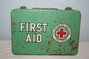 Vintage American National Red Cross First Aid Kit Metal Box Medical Supplies