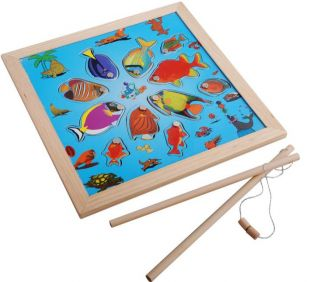 Wood Magnetic Fishing Game Board 11 Fish 2 Rods Children Toy Kid Fun New