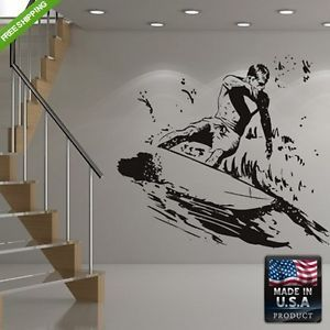 Wall Vinyl Decals Decor Art Mural Sticker Surfer Sea Surf Board Ocean Z173