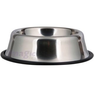 Stainless Steel No Tip Non Slip Dog Puppy Pet Food Water Bowl DISH12 32 64oz