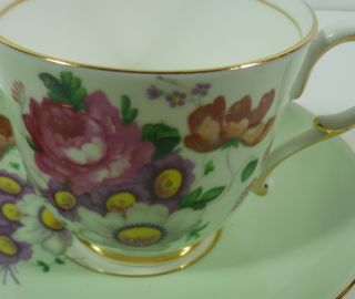 Paragon Queen Mary Fine Bone China Pink Rose Purple Floral Cup Saucer