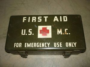WWII USMC Vehicle First Aid Kit Complete Nice Marines Jeep Truck WW2