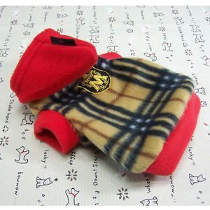 Dog Clothes Warm Hoodie Shirts Pet Apparel Check Pattern Fleece Coats D117