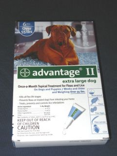 Advantage II Fleas and Lice Treatment for Dogs Over 55lbs 6pack New SEALED 724089617828