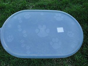 "Top Paw Print Clear Dog Cat Pet Bowl Dish Food Water Placemat 21"" x 12 75"" New"