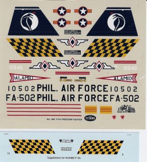 Northrop F 5A Freedom Fighter Testors Decal and Loon Resin Refueling Probes 1 48