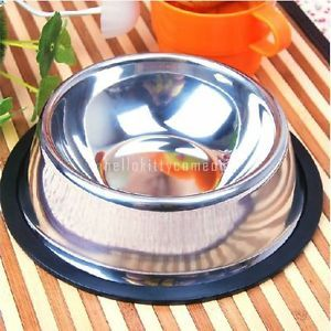High Grade Non Slip Metal Stainless Steel Pet Puppy Cat Dog Food Water Bowl New