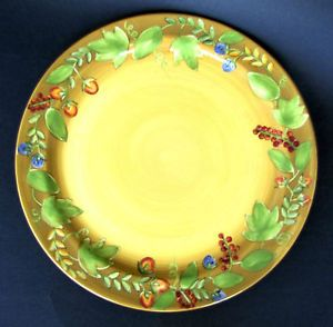 Laura Gates Gates Ware Large Bright Yellow Green Tan and Red Serving Platter