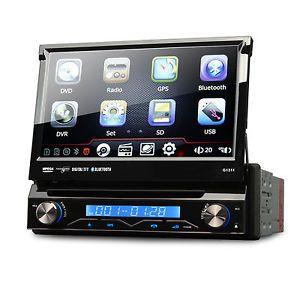 "7"" HD Single DIN Car DVD Player GPS Navigation Bluetooth Touch Stereo iPod Radio"
