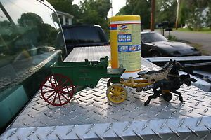 Cast Iron Toy Kenton Sand and Gravel Wagon 3 Horse Fire Cart Horses Damaged